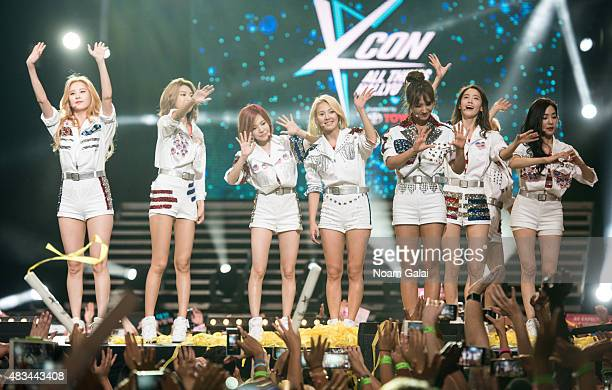 Girls' Generation perform at the 2015 KPop Festival at Prudential Center on August 8 2015 in Newark New Jersey