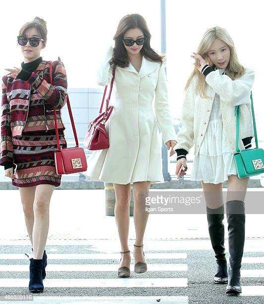 Girls' GenerationTTS are seen at Incheon International Airport on October 27 2015 in Incheon South Korea