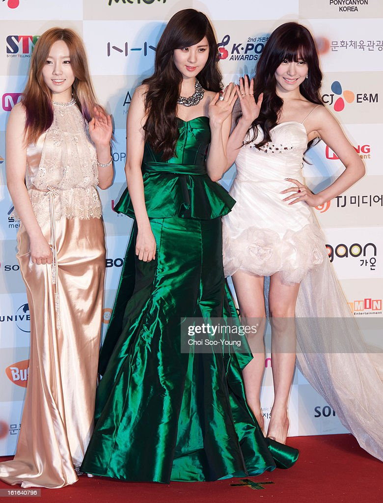 Girls' Generation-TTS pose for photographs upon arrival during '2nd Gaonchart K-pop Awards' at Olympic Hall on February 13, 2013 in Seoul, South Korea.