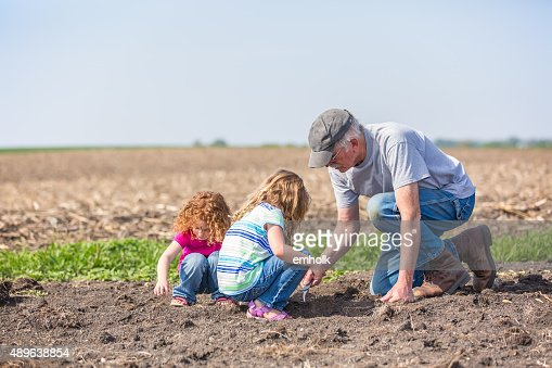 Girls & Grandpa Checking Field for Growing Soybeans