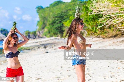 Girls have a fun at the beach.