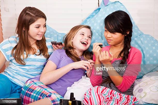 Girls having a slumber party