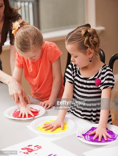4 Girl Finger Painting Stock Photos And Pictures Getty Images