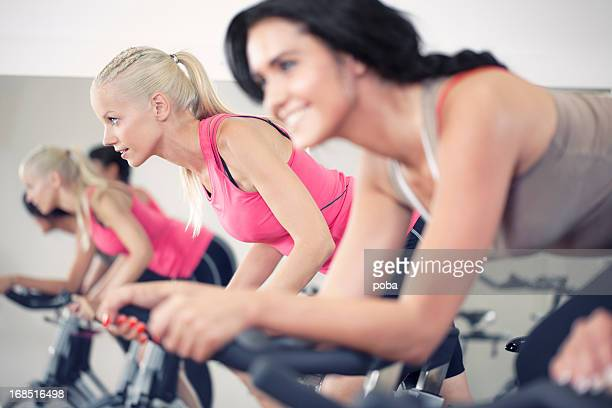 girls in a Spinning Class