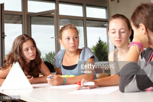 Girls in a school lesson. : Stock Photo