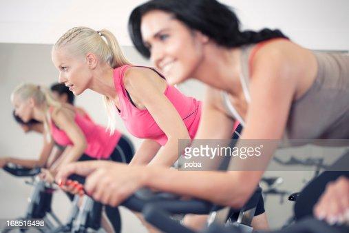 girls in a Spinning Class