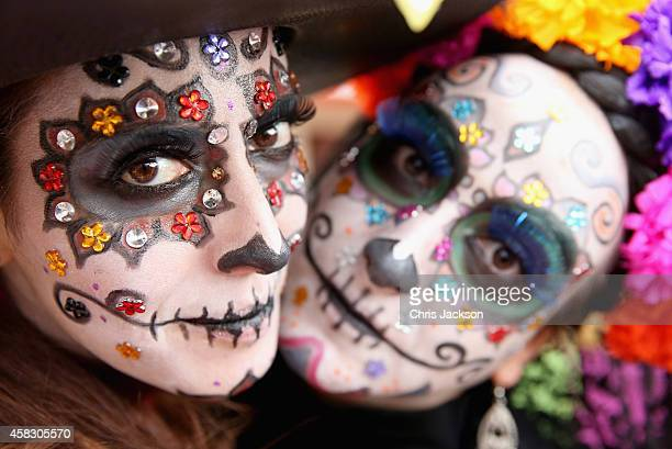 Girls in facepaint in Real del Monte on the 'Day of the Dead' on November 2 2014 in HidalgoMexico The Royal Couple are on the first day of a four day...