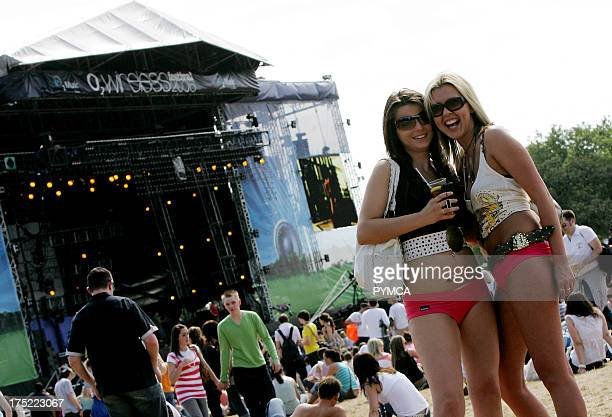 Girls in Front of main stage at O2 Wireless Festival 2006 Hyde Park London