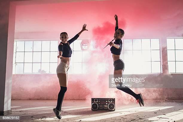 Girls in pink smoke