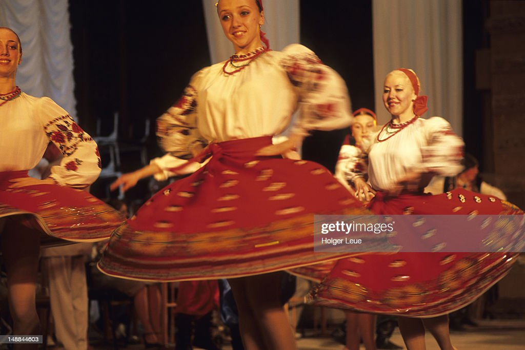 Girls in traditional folk dance performance.