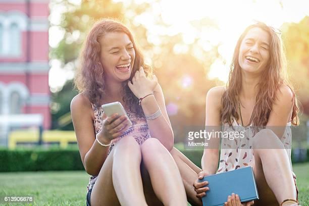 Girls laughing ecstatically
