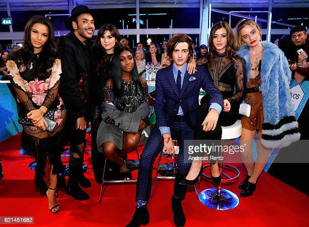 Girls Monica Geuze Betty Autier Sandra Lambeck Eleanor Calder and Sonya Esman and guests attend the MTV Europe Music Awards 2016 on November 6 2016...