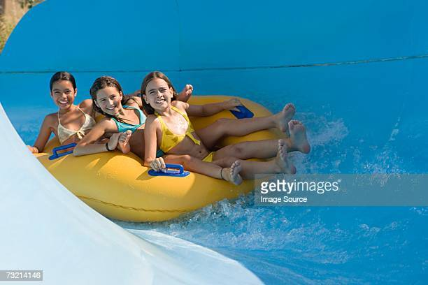 Girls on a water slide