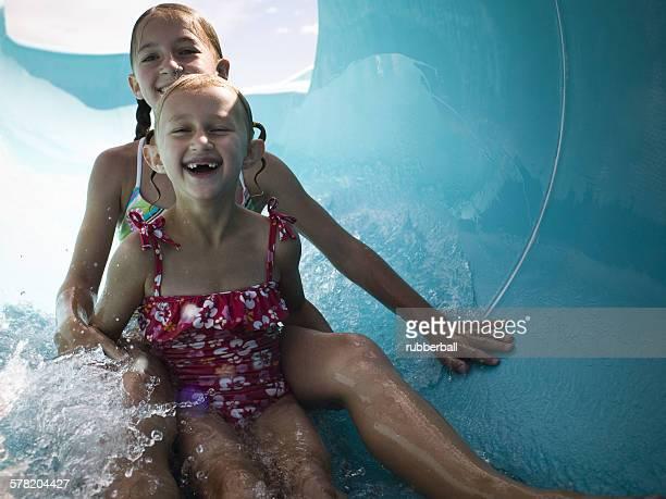 Girls on a waterslide