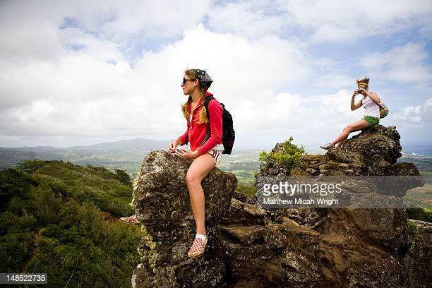 Girls on rocks on Nounou Mountain hiking trail