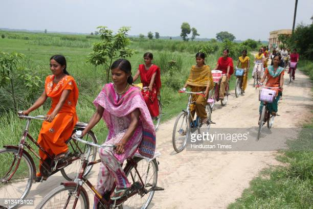 Girls on way to High School Desari fom Garahi village in Vaishali district in Bihar on the bicycles provided under the cycle scheme of the state...