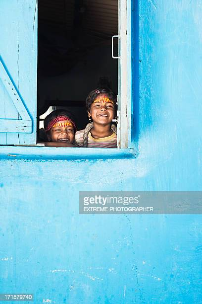 Girls on window