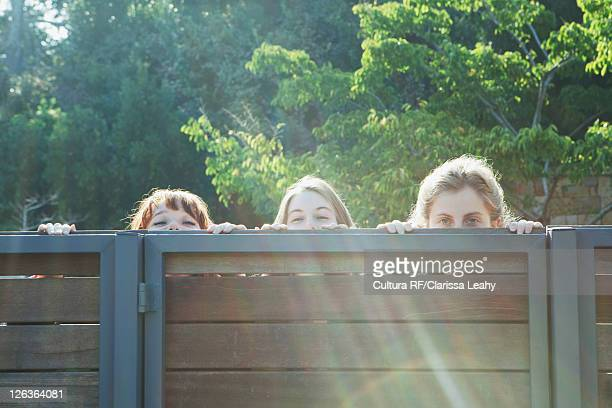 Girls peering over wooden fence