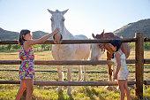 Girls petting horses
