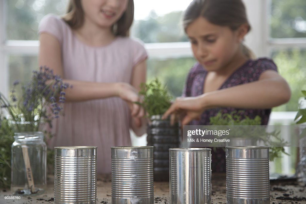 Girls planting plants and herbs