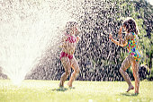 Girls Playing In Lawn Sprinkler