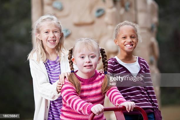 Girls playing on playground