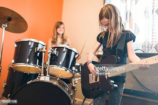 Girls Playing Rock and Roll At Home
