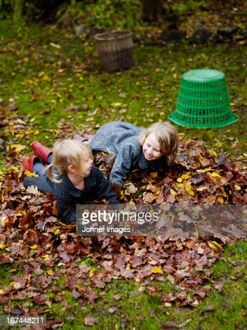 Girls playing with autumn leaves : Stock Photo