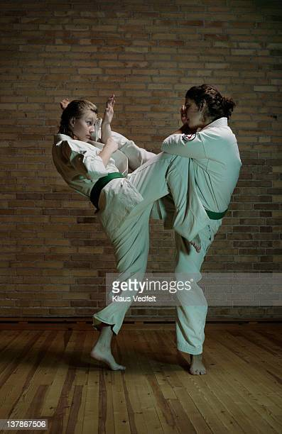 2 girls practicing karate kicks