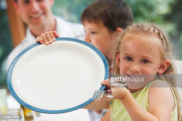 girls showing empty plate