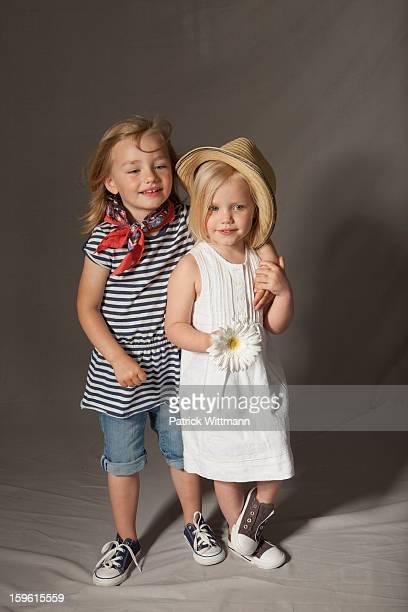 Girls smiling in studio