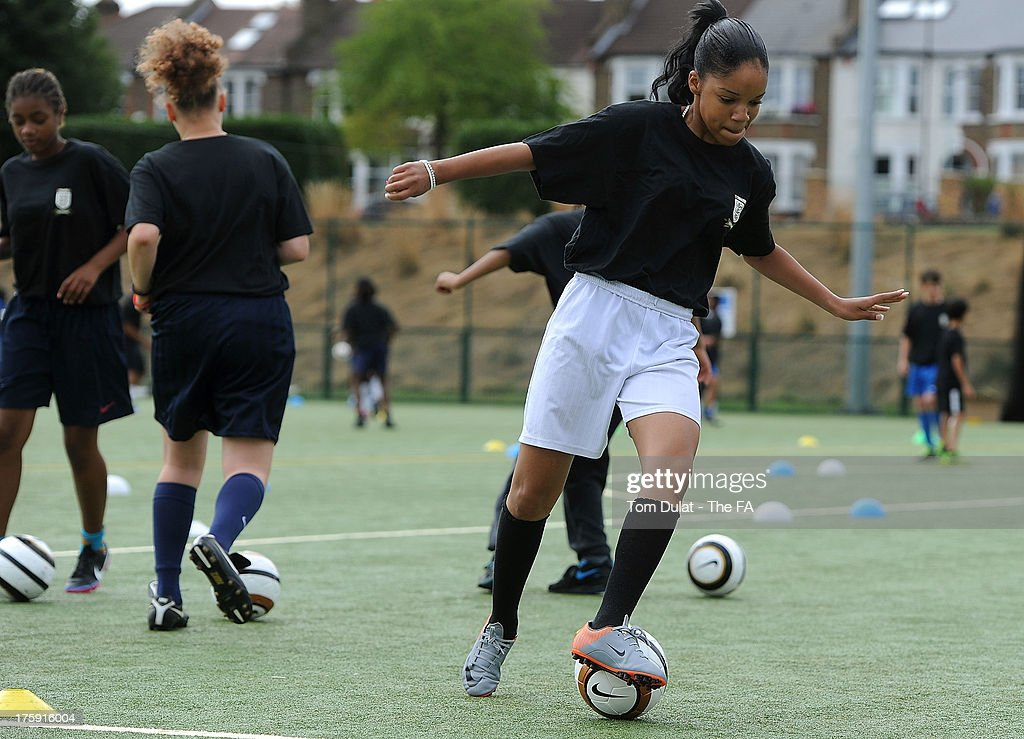 Girls take part in activities during The FA's Sir Bobby Robson National Football Day at Kings College Sports Ground on August 10, 2013 in London, England.