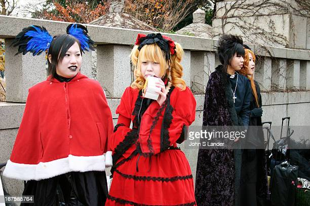 Girls taking a break from their fashion dressup parade in Harajuku District Tokyo a phenomenon that takes place every Sunday Even cosplay aficionados...