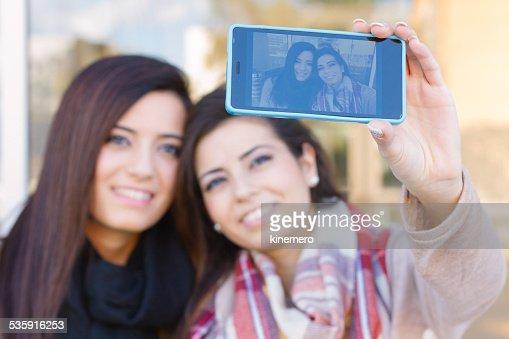 Girls taking a Selfie : Stock Photo