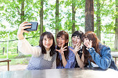 Girls taking self photos with a smartphone