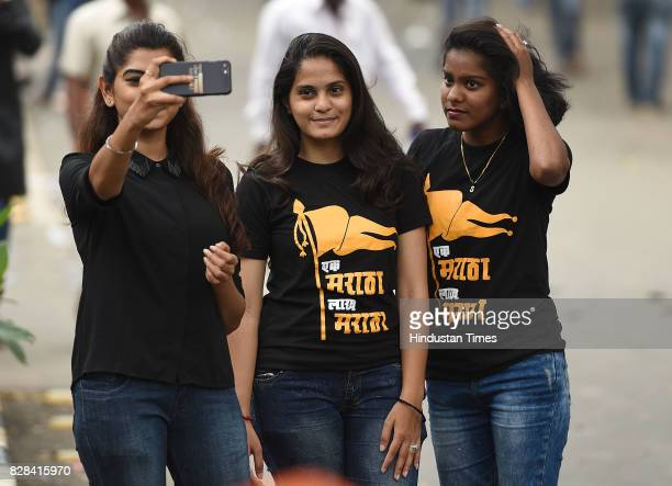 GIrls taking selfie during Maratha Morcha near CST station on August 9 2017 in Mumbai India The protest rally which saw participation from nearly...