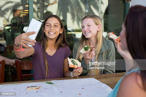 Girls taking selfie in cafe