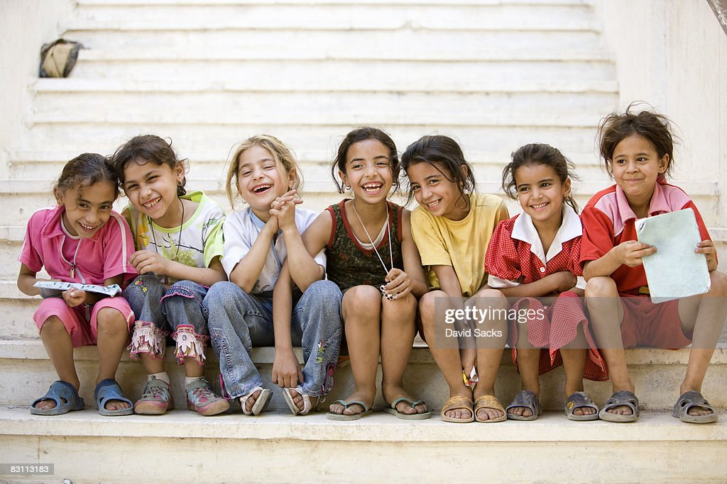 girls together on step : Stock Photo