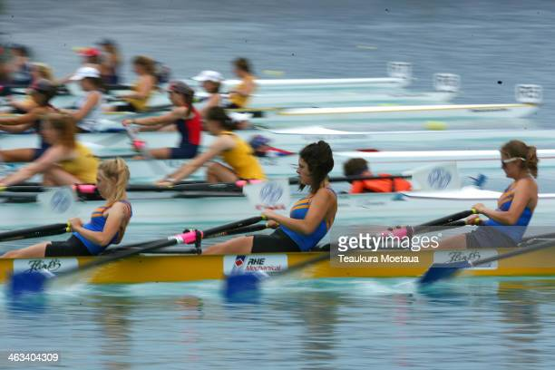 Girls U18 coxed quad sculls compete during the Canterbury Championships on January 18 2014 in Twizel New Zealand