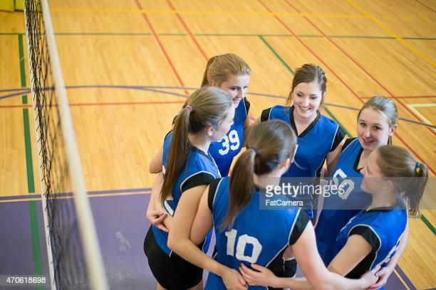 Girls Volleyball Team Huddle