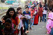 Girls waiting in line to cast their votes during the student union election voting at Allahabad University