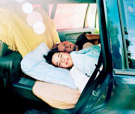 Girls waking up in car