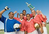 Girls Winning Soccer Team