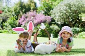 Girls with bunny and Easter basket