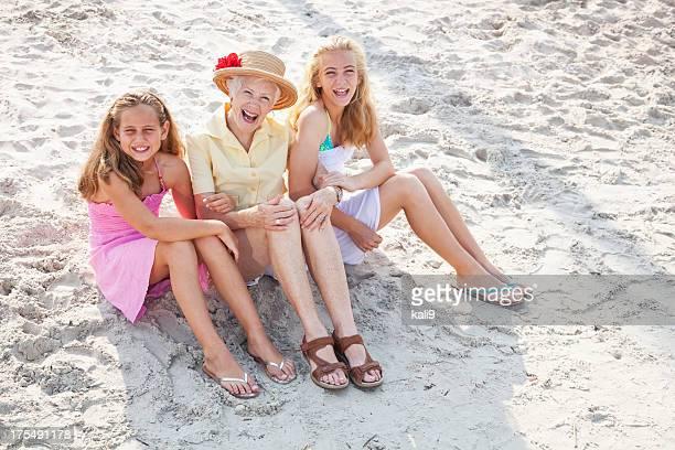 たちにビーチでの祖母