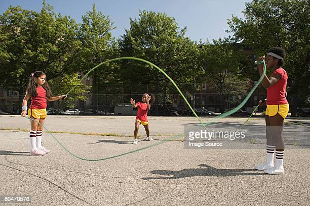 Girls with skipping ropes