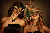 girls with venetian mask