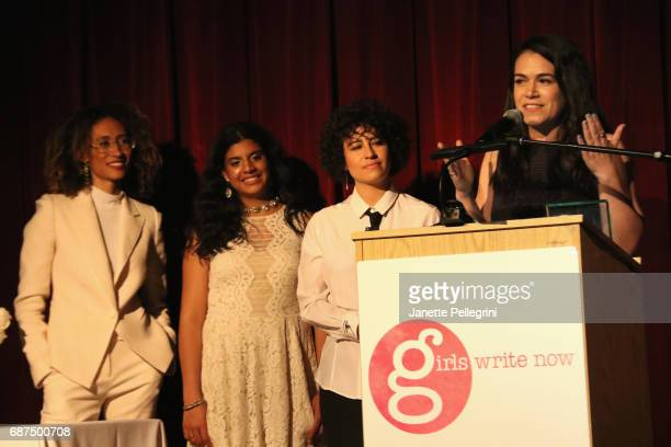 Girls Write Now Honoree Abbi Jacobson accepts an award onstage with Elaine Welteroth Daleelah Saleh and Ilana Glazer at the Fifth Annual Girls Write...