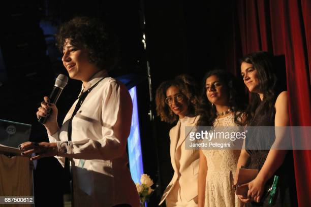 Girls Write Now Honoree Ilana Glazer accepts an award onstage with Elaine Welteroth Daleelah Saleh and Abbi Jacobson at the Fifth Annual Girls Write...