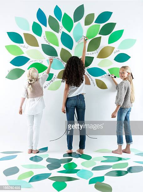 Girls writing on tree on wall